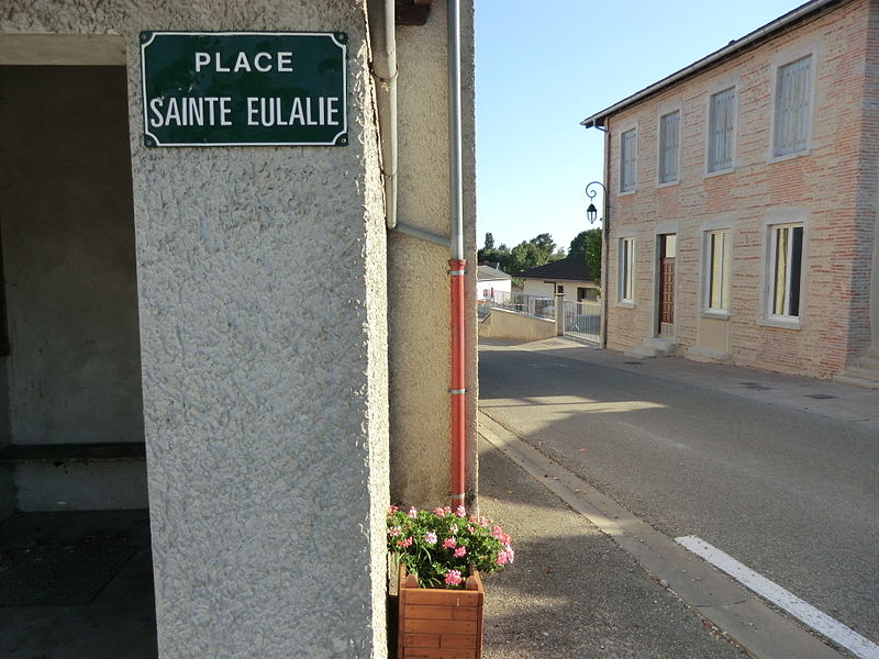 Place de l'église Sainte-Eulalie de Saint-Éloi (Ain): panneau.