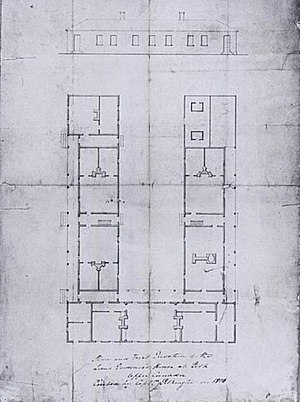Government House (Ontario) - The elevation and plans for the first Government House, built in 1799 and destroyed by war in 1813