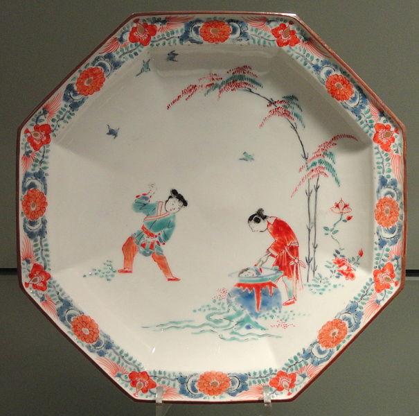 ファイル:Plate with Shiba Onko Design, c. 1680-1700, Arita, hard-paste porcelain with overglaze enamels - Gardiner Museum, Toronto - DSC00568.JPG