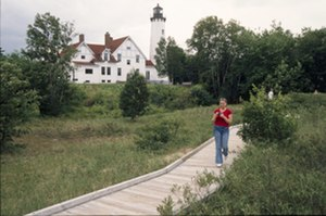 Whitefish Bay National Forest Scenic Byway - Point Iroquois Lighthouse as seen from the adjoining boardwalk
