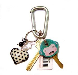 Keychain - A plastic charm keychain on a carabiner