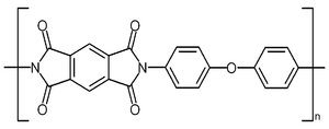 "Polyimide - Structure of poly-oxydiphenylene-pyromellitimide, ""Kapton""."