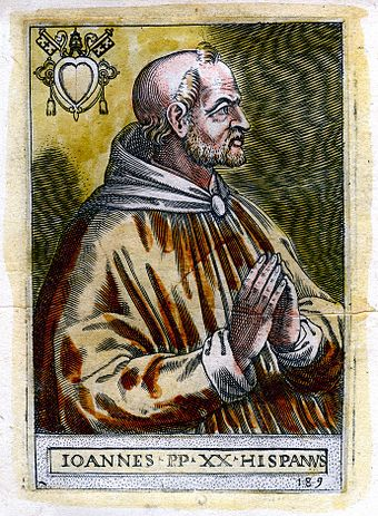 John XXI was a medieval pope and physician who wrote popular medical texts. Pope John XXI.jpg