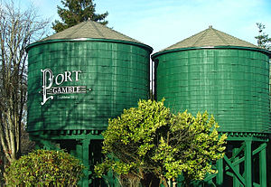Port Gamble, Washington - Water towers in Port Gamble.