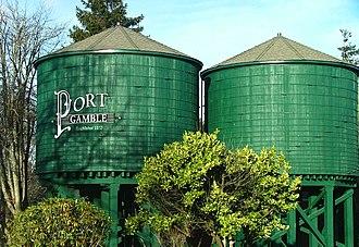 Port Gamble, Washington - Water towers in Port Gamble.