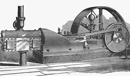 Porter-Allen high speed engine. Enlarge to see the Porter governor at left front of flywheel Porter-Allen high-speed engine (New Catechism of the Steam Engine, 1904).jpg