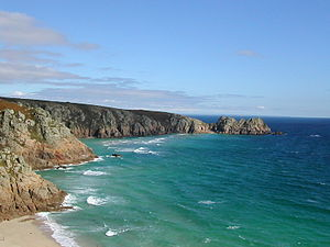 Porthcurno Bay and Logan Rock Headland taken f...