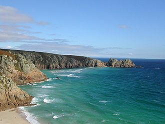 Porthcurno - Porthcurno Bay and Logan Rock headland
