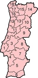 Carte numérotée des districts du Portugal.