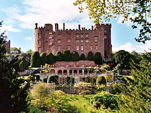 Powis castle from the south showing the distinctive terraced gardens