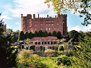 Powis Castle - Powis Castle from the south, showing the distinctive terraced gardens