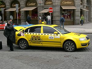 Prague's taxi on Old Town Square in Prague, Cz...