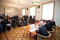 Preses konference par Ministru prezidenta Valda Dombrovska vadītās trešās valdības veikumu pirmajās simts dienās un nākotnes iecerēm (6770473223).jpg
