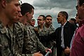 President Barack Obama, right, greets U.S. Airmen at Tinker Air Force Base, Okla., May 26, 2013, on his way to visit areas damaged by recent tornadoes 130526-F-RH756-472.jpg
