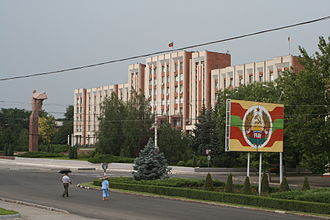 Tiraspol - Transnistria parliament building in Tiraspol. In front is a statue of Vladimir Lenin