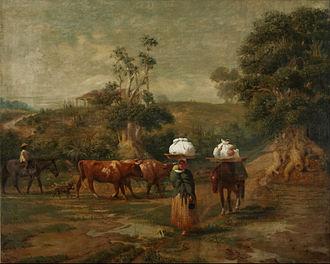 Belgrano, Buenos Aires - Washerwomen in Bajo Belgrano, painting by Prilidiano Pueyrredón, 1865.