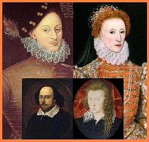 Prince Tudor theory - The alleged parents and sons (inset): Edward de Vere and Queen Elizabeth; Shakespeare and Southampton.