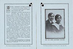 Memorial card for Herbert and Ellen Davies, hu...