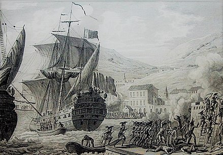 The French army led by Le Clerc lands in Cap Francais (1802) Prise du Cap Francais par General Le Clerc 15 et 20 Pluviose, An 10 (Nuevo).jpg