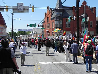 Thurmont, Maryland - Protesters in Thurmont during the 2012 G8 Summit, hosted at nearby Camp David.