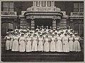 Providence Hospital nurses standing on front steps, ca 1911 (MOHAI 7299).jpg