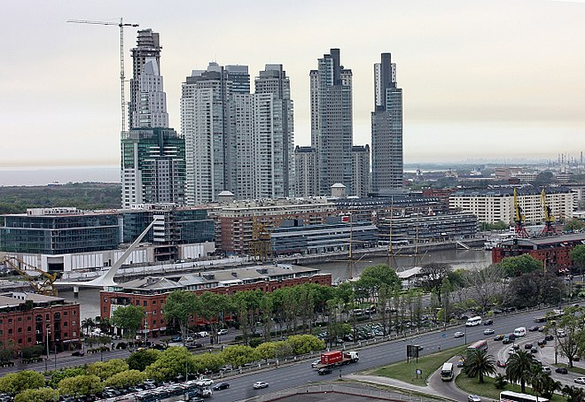 Puerto Madero, in Buenos Aires, Argentina, is an urban renewal project, a transformation of a large disused dock into a new luxury residential and commercial district. It is one of the most expensive neighborhoods in Latin America. Puerto Madero - Buenos Aires.jpg