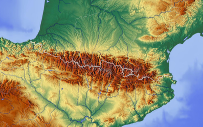 Pyrenees topographic map.png