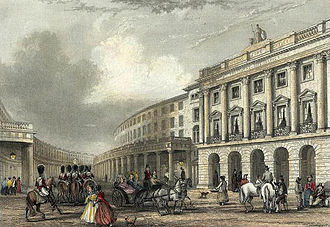 Regent Street - The Quadrant, Regent Street in 1837, seen from Piccadilly Circus. The buildings have since been replaced