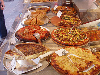 Quiche - A variety of tarts, with a quiche in the bottom left