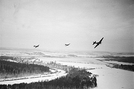 Soviet Ilyushin Il-2s flying over German positions near Moscow RIAN archive 2564 Soviet planes flying over Nazi positions near Moscow.jpg