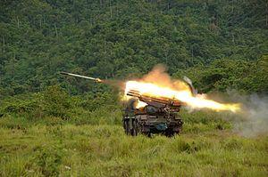 RM-70 multiple rocket launcher - Indonesian Korps Marinir RM-70 unit firing
