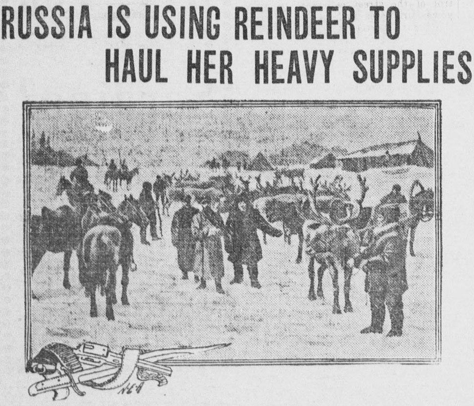 RUSSIA IS USING REINDEER TO HAUL HER HEAVY SUPPLIES