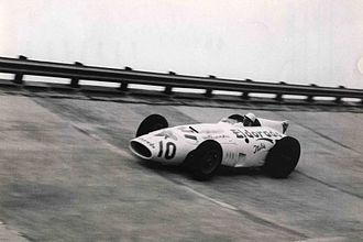 Race of Two Worlds - Stirling Moss on Maserati 420M/58 during race