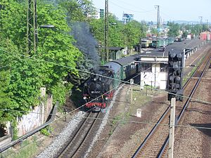 Radebeul–Radeburg railway - Train on the Radebeul–Radeburg railway leaving Radebeul East station
