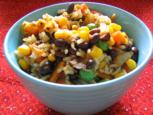 Rice and beans is a common vegan protein combination. Rainbow Rice and Beans.jpg