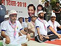 Ram Vilas Paswan and the Minister of State for Human Resource Development, Shri Upendra Kushwaha perform Yoga, on the occasion of the 4th International Day of Yoga 2018, in Hajipur, Bihar.JPG
