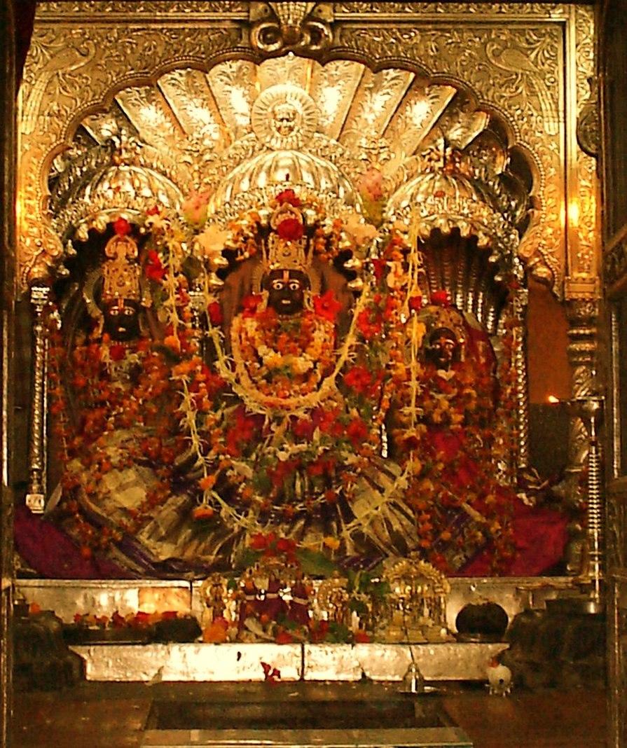 Rama, Lakshman and Sita at the Kalaram Temple, Nashik.