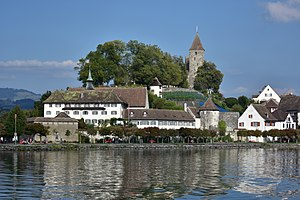 Capuchin Friary, Rapperswil - The monastic buildings, showing the Einsiedlerhaus to the right, and the ''Lindenhof'' hill of Rapperswil Castle in the background (September 2015)