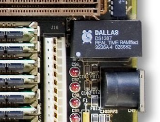 Real-time clock - Dallas Semiconductor (DS1387) real-time clock from an older PC. This version also contains a battery-backed SRAM.