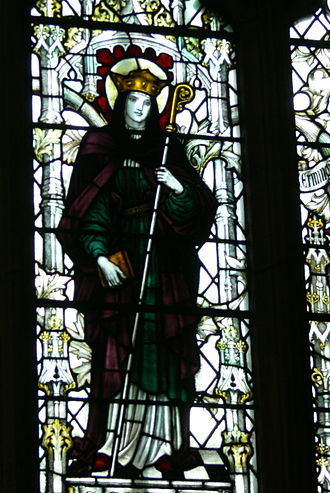 Seaxburh of Ely - A stained glass window depicting St. Seaxburh, from the Refectory of Chester Cathedral.