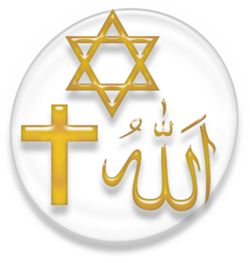 Symbols of the three main Abrahamic religions: Judaism, Christianity and Islam
