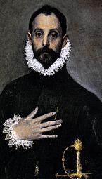 Detalle del caballero de la mano en el pecho (1583-85)