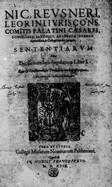 Sententiae sive decisiones iuris singulares, 1599 (Quelle: Wikimedia)