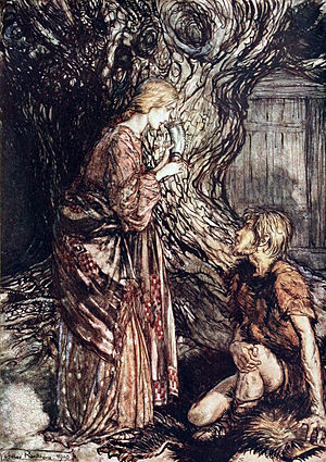 Die Walküre - Sieglinde brings the exhausted Siegmund some-thing to drink, illustration by Arthur Rackham, 1910