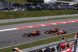 2016 Spanish Grand Prix - Ricciardo, Verstappen and Vettel (from left to right) fighting for the lead.