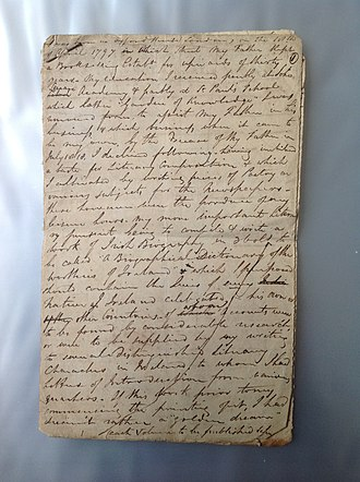 Richard Ryan (biographer) - Autobiographical journal entry by Richard Ryan explaining his life and plans in 1819, including his Irish dictionary of national biography The Worthies of Ireland.