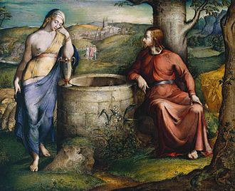 George Richmond (painter) - Christ and the Woman of Samaria (1825), one of Richmond's early works, influenced by the art of William Blake.