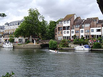 River Colne, Hertfordshire - River Colne as it joins the Thames at Staines-upon-Thames