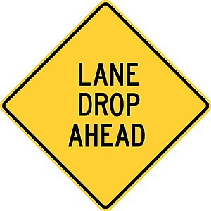 Road signs in the United States - Image: Roadsign lane drop ahead