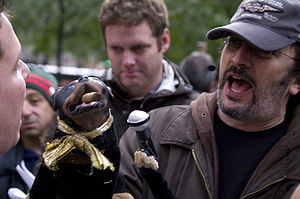 Triumph the Insult Comic Dog - Robert Smigel with the Triumph puppet at the 2011 Occupy Wall Street protest New York City's Zucotti Park